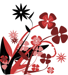 Abstract red, pink and black flowers with their leaves