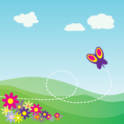 Green countryside with flowers and a butterfly